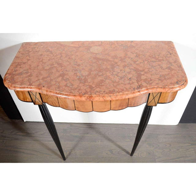Art Deco Exotic Marble Top Console Table For Sale In New York - Image 6 of 9