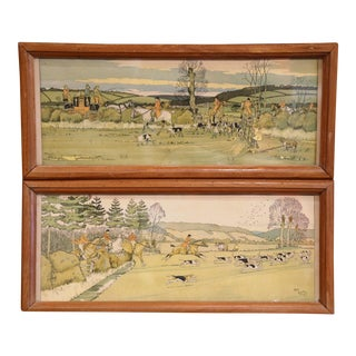 19th Century English Hunt Scenes Watercolor Paintings in Walnut Frame - a Pair For Sale