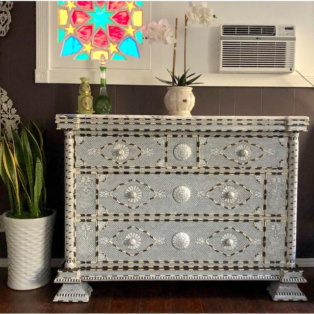 Fabulous Syrian chest with 4 drawers, inlaid with natural mother of pearl, camel bone and silver metallic wire. Dowry...