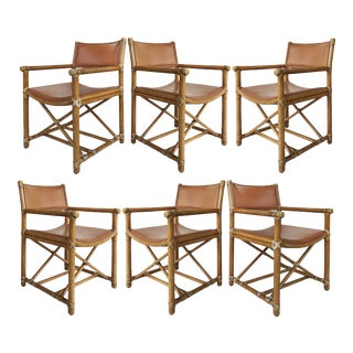 McGuire San Francisco Campaign Dining Chairs W/ Caned Backs- Set of Six For Sale