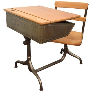 1950s Industrial Child's School Desk For Sale