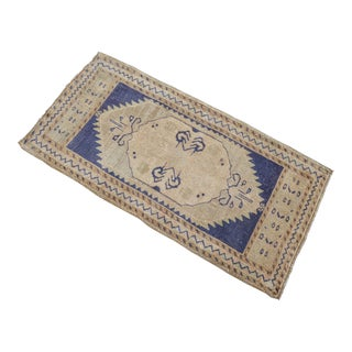 Hand Knotted Door Mat, Entryway Rug, Bath Mat, Kitchen Decor, Small Rug, Turkish Rug - 1′10″ × 3′8″ For Sale