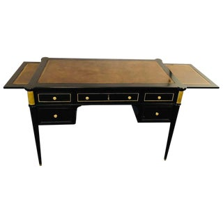 Louis XVI Hollywood Regency Ebony Desk Manner of Maison Jansen Bronze Mounted For Sale