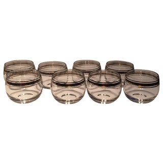 Roly Poly Silver Rimmed Glasses - Set of 8 For Sale