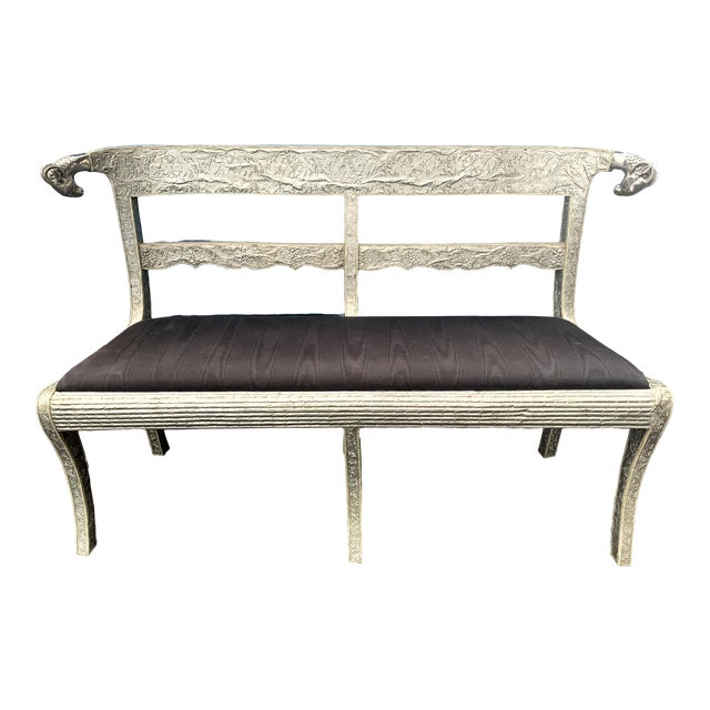 Anglo-Indian Silver Repousse Bench or Settee For Sale