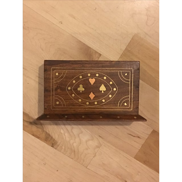 Walnut Card Box With Brass & Copper Inlay - Image 3 of 9
