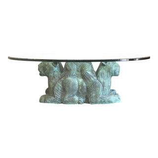 Mid-Century Modern Green Carved Wood Lion Coffee Table For Sale