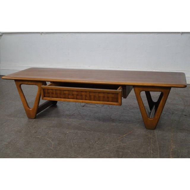 """Brown Lane """"Perspective"""" Mid-Century Walnut V Base Coffee Table For Sale - Image 8 of 10"""