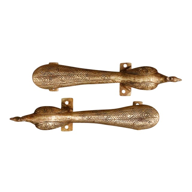 Large Gold Brass Peacock Door Handles - a Pair For Sale - Image 4 of 7