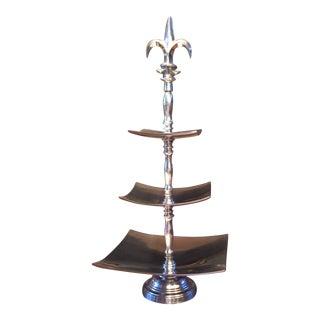 Aluminum 3-Tier Fleur De Lis Serving Tray or Display For Sale