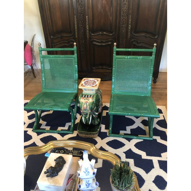 Boho Chic Campeche Green Faux Bamboo Chairs - a Pair For Sale - Image 3 of 9