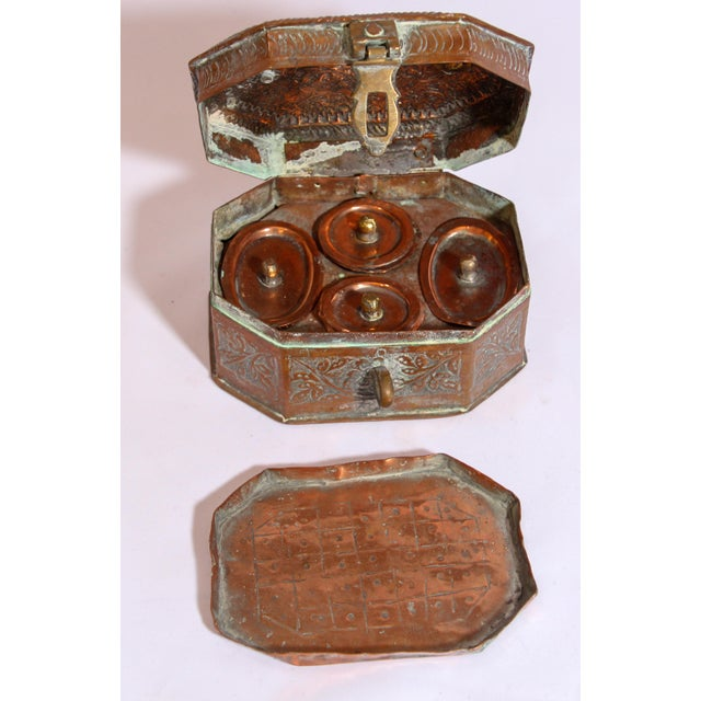 Anglo-Indian Handcrafted Tinned Copper Metal Spices Caddy Box For Sale - Image 9 of 13