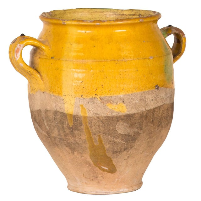 Yellow Glazed Confit Pot With Green Markings and Handles For Sale In Los Angeles - Image 6 of 6