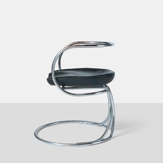 1950s Vladimir Tatlin Tubular Chrome Chairs with Black Leather For Sale - Image 5 of 9