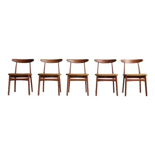 Vintage Mid Century Japanese Modern Oak Dining Chairs- Set of 5 For Sale