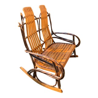 Bentwood and Twig Adirondack Double Vintage Rocking Chair For Sale