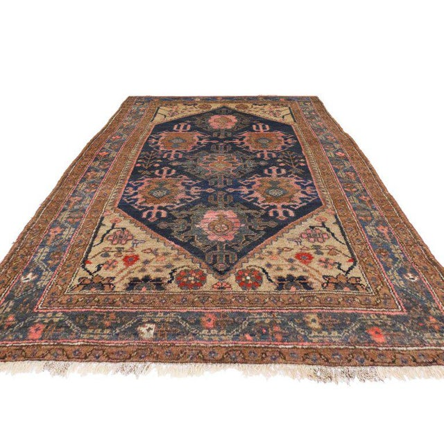 Asian Antique Hamadan Persian Rug with Modern Style For Sale - Image 3 of 8