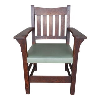 Gustav Stickley Mission Oak Arts & Crafts Armchair For Sale