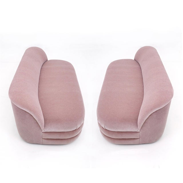 """Pair of settees by Vladimir Kagan for Directional Furniture, 1990's. Newly upholstered in soft """"dusty rose"""" pink mohair...."""