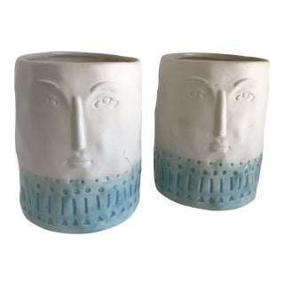 Boho Chic Face Plant Vessels or Vase - a Pair