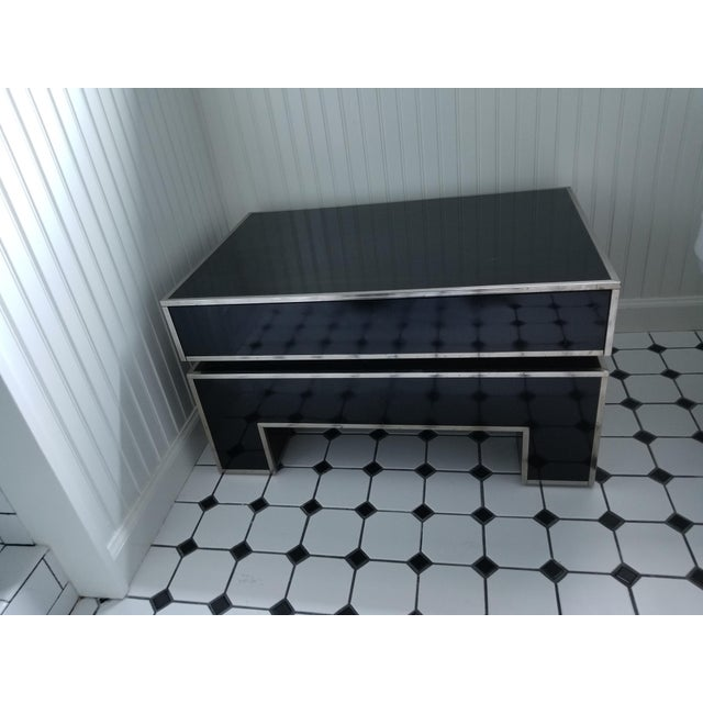 Chrome Trimmed Lacquered Side Tables - A Pair - Image 5 of 7