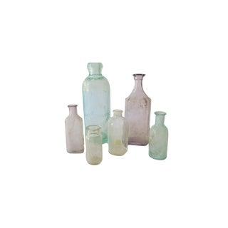 Antique Sea Glass Blue Purple Clear Bottle Collection Set of 6