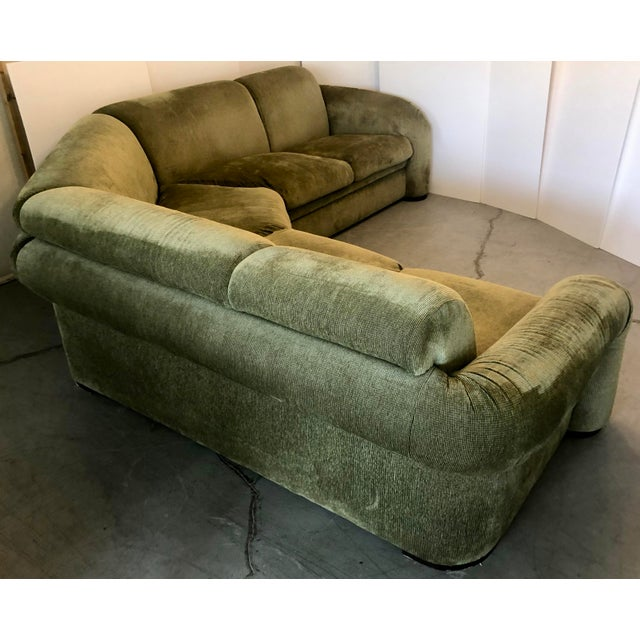 Olive Green 3 Piece Sectional From 80s For Sale - Image 9 of 13