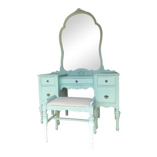 1930s Art Deco Vanity Dresser With Mirror and Seat - 3 Pieces For Sale