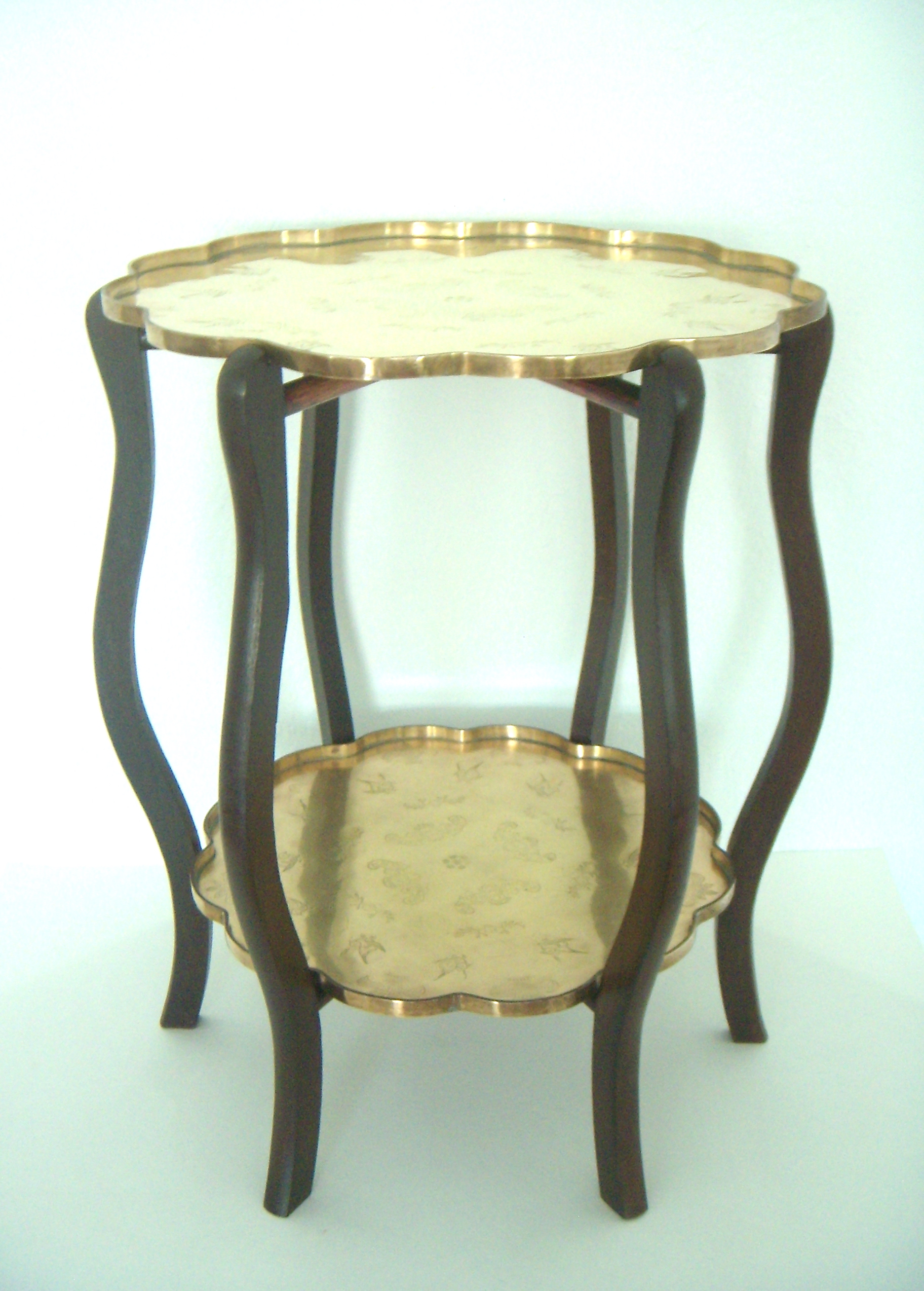 Asian Folding Two Tier Chinese Side Table With Two Etched Brass Trays For  Sale   Image