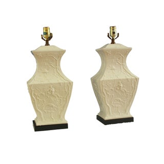Blanc de Chine Figured Urn Shaped Lamps - A Pair For Sale