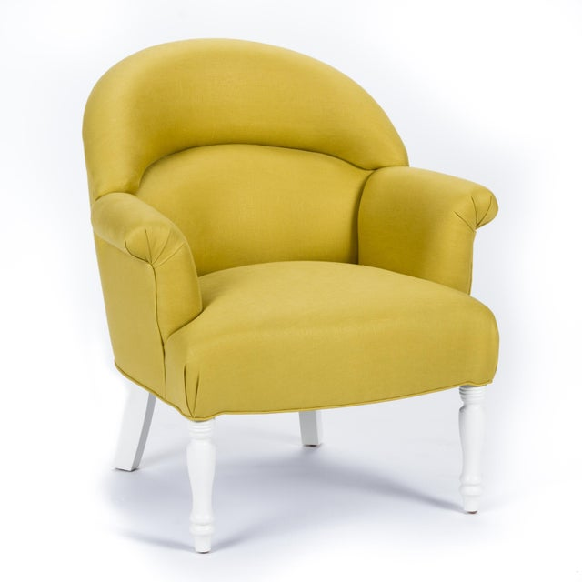 Not Yet Made - Made To Order Casa Cosima Napoleon III Chair in Citron Linen, a Pair For Sale - Image 5 of 9