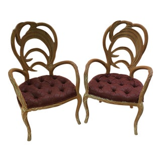 Tufted Wooden Faux Bois Chairs - a Pair For Sale