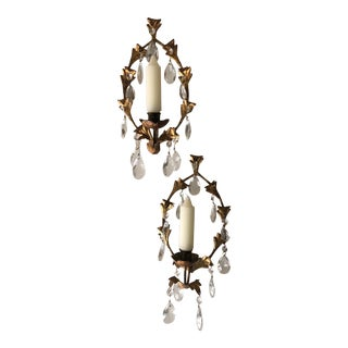 1950s Italian Tole Candle Sconces With Crystals - a Pair For Sale