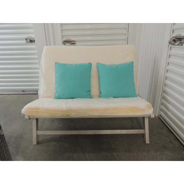 Outdoor Safavieh Weathered Finish Settee For Sale - Image 9 of 10