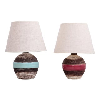 Set of Two Keramos Art Deco Table Lamps For Sale