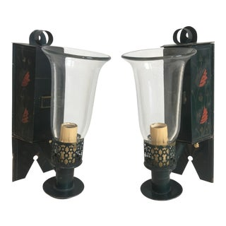 Tole Chinoiserie Sconces - a Pair For Sale