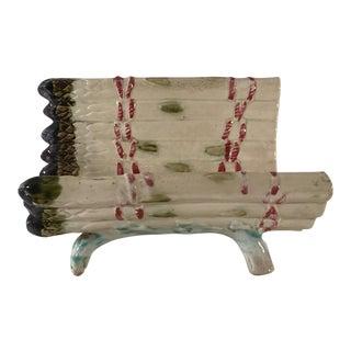 Antique Majolica Asparagus Cradle Strainer For Sale