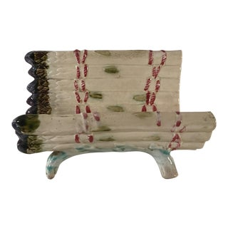 Antique Majolica Asparagus Dish Strainer