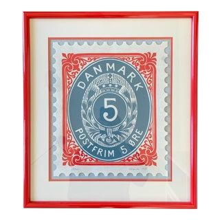 Vintage Framed Denmark Stamp, Signed and Numbered For Sale