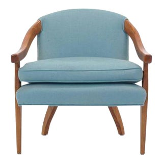 Elegant Club Lounge Chair or Side Chair by Baker, Walnut and Blue Fabric For Sale