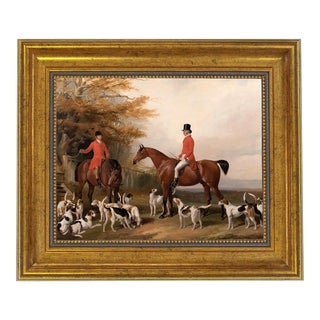The Meeting Fox Hunt Scene Oil Painting Print Reproduction on Canvas in Antiqued Gold Frame For Sale
