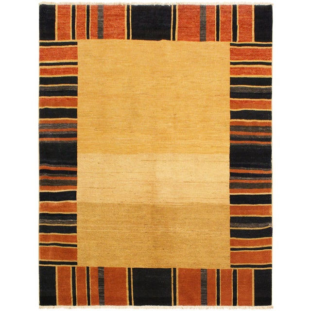 Gabbeh Jenee Tan/Blue Wool Area Rug -5'1 X 6'5 For Sale