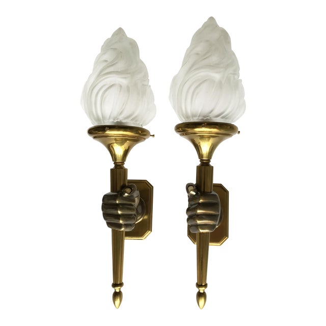 Vintage Opposite Hand Maison Bagues Sconces - A Pair - Image 1 of 5
