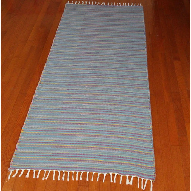 "Flat Weave Wool Striped Blue Kilim Rug - 2'8"" x 7'6"" - Image 5 of 10"