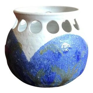 California Studio Pottery Blue and White Planter Vase For Sale