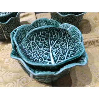 Vintage Secla Majolica Green Cabbage Covered Soup Bowls - Set of 3 Preview