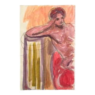 1980s Reclining Male Nude Painting by James Bone For Sale