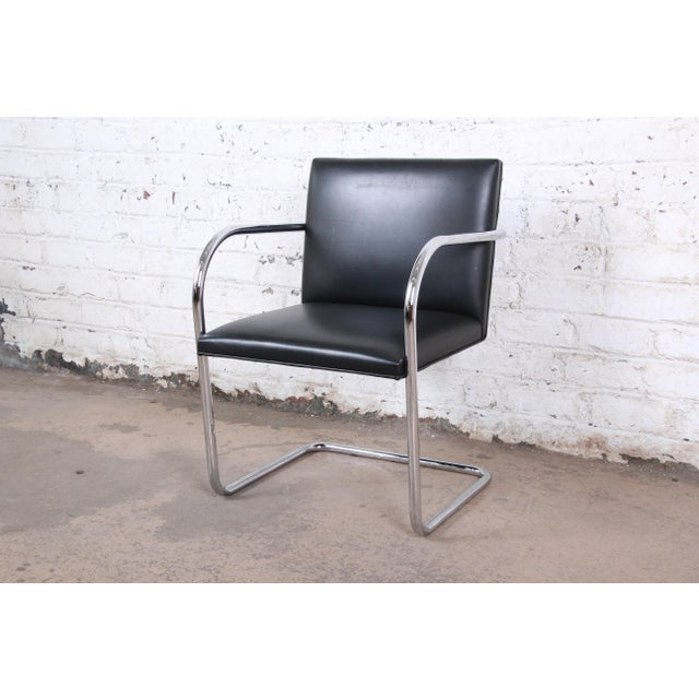 Mies Van Der Rohe for Knoll Black Leather and Chrome Brno Chairs - Set of 6 For Sale - Image 10 of 13