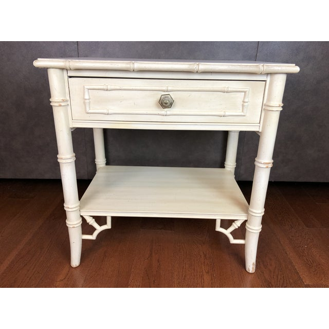 Thomasville Faux Bamboo Nightstand For Sale - Image 6 of 6