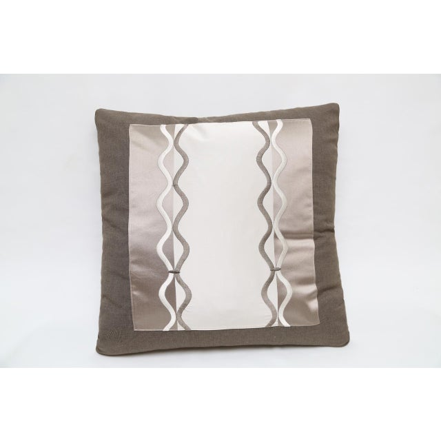 Contemporary Silk & Satin Pillow With Braid Embroidery For Sale - Image 3 of 3